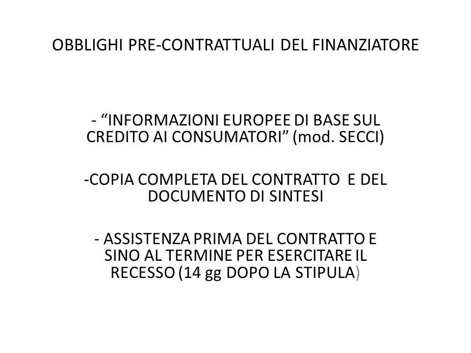 OBBLIGHI PRE-CONTRATTUALI DEL FINANZIATORE