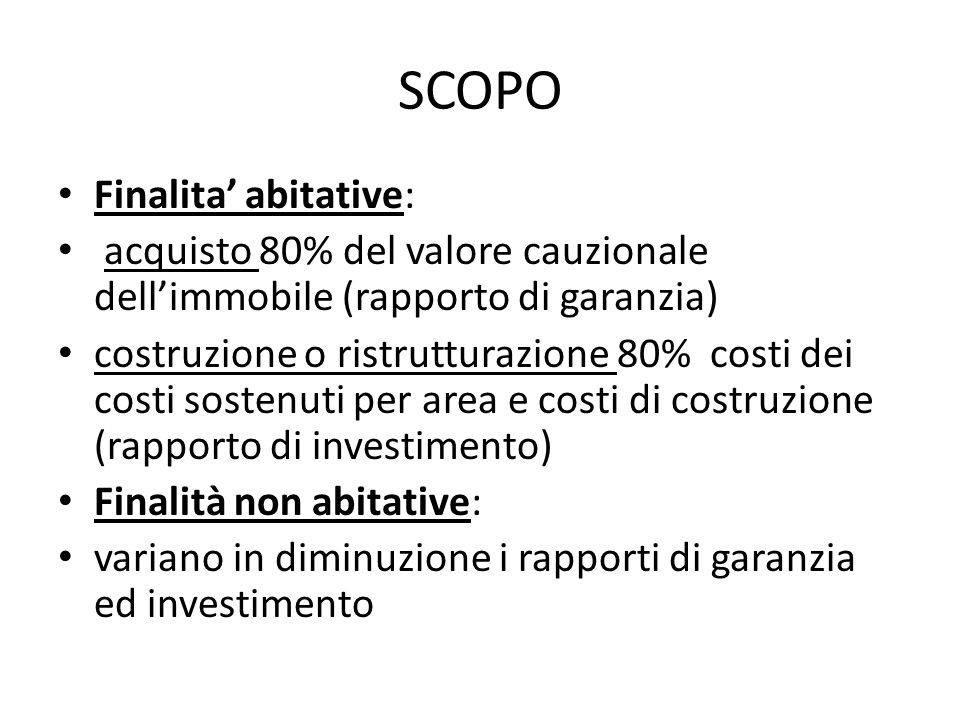 SCOPO Finalita' abitative: