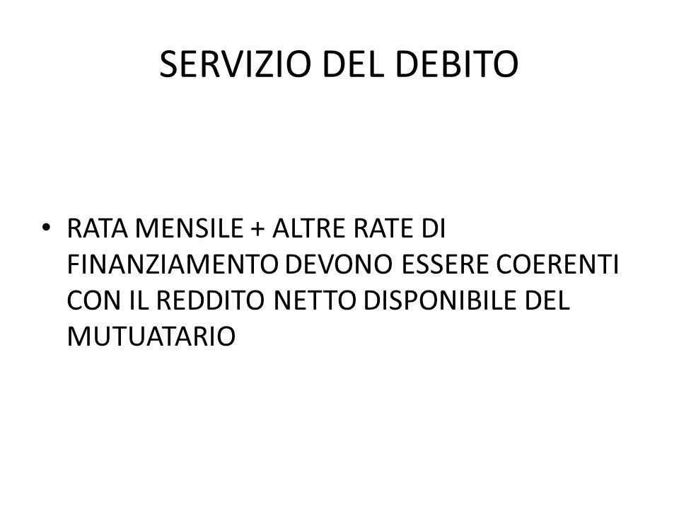 SERVIZIO DEL DEBITO RATA MENSILE + ALTRE RATE DI FINANZIAMENTO DEVONO ESSERE COERENTI CON IL REDDITO NETTO DISPONIBILE DEL MUTUATARIO.