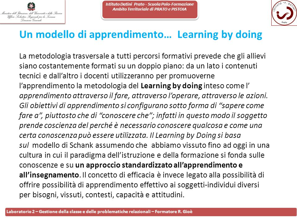 Un modello di apprendimento… Learning by doing