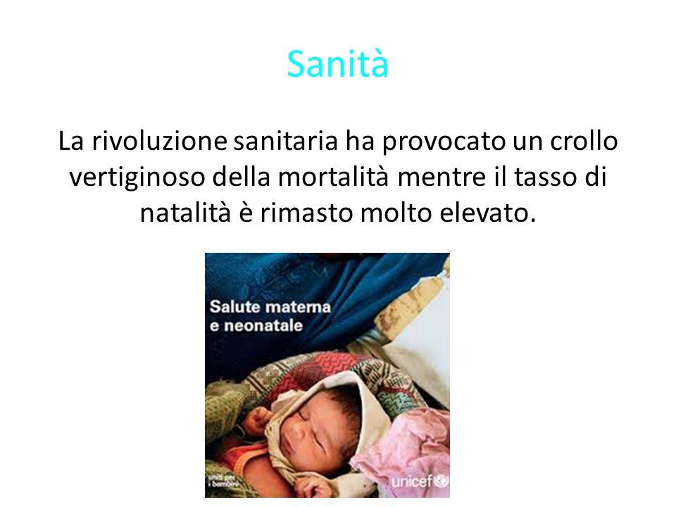 Sanità La rivoluzione sanitaria ha provocato un crollo vertiginoso della mortalità mentre il tasso di natalità è rimasto molto elevato.