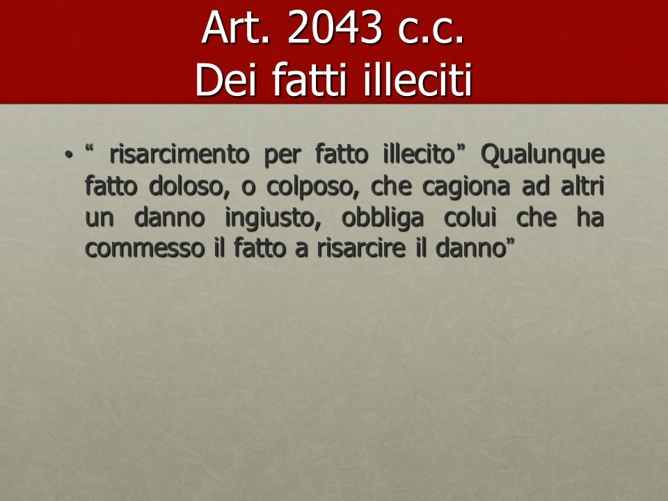 Art. 2043 c.c. Dei fatti illeciti
