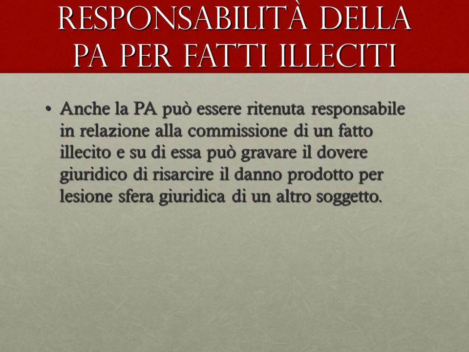 Responsabilità della pA per fatti illeciti