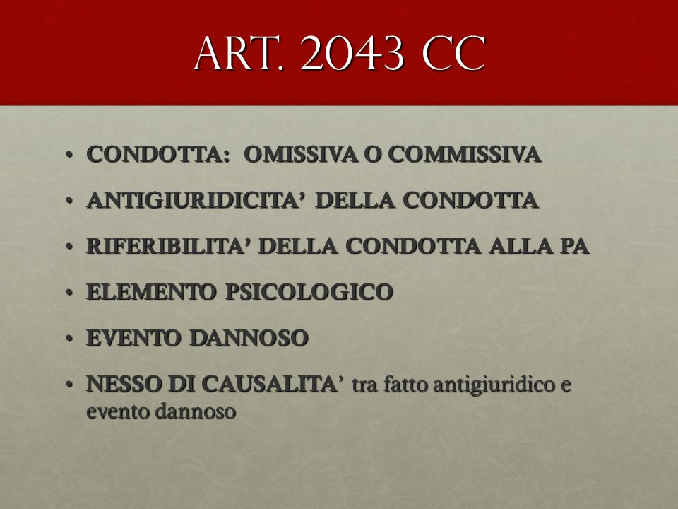 Art. 2043 cc CONDOTTA: OMISSIVA O COMMISSIVA