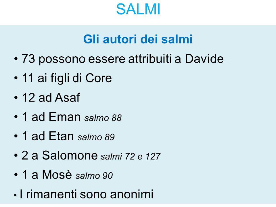 SALMI Gli autori dei salmi 73 possono essere attribuiti a Davide