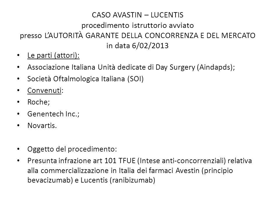 CASO AVASTIN – LUCENTIS procedimento istruttorio avviato presso L'AUTORITÀ GARANTE DELLA CONCORRENZA E DEL MERCATO in data 6/02/2013