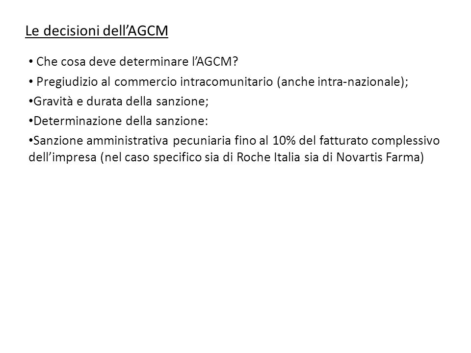 Le decisioni dell'AGCM