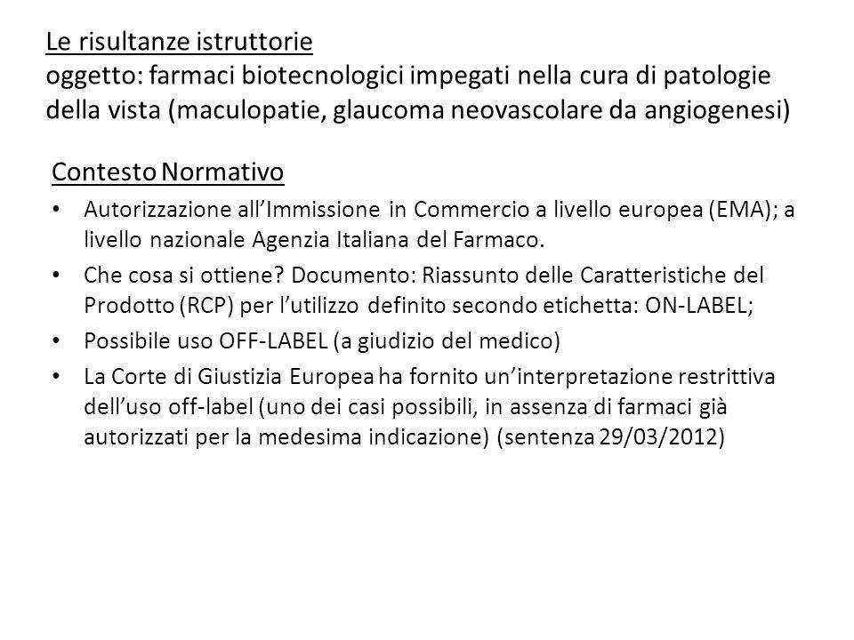 Le risultanze istruttorie oggetto: farmaci biotecnologici impegati nella cura di patologie della vista (maculopatie, glaucoma neovascolare da angiogenesi)