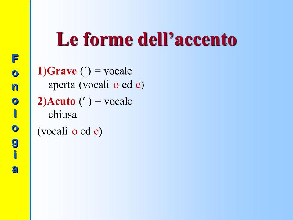 Le forme dell'accento Fono l og i a