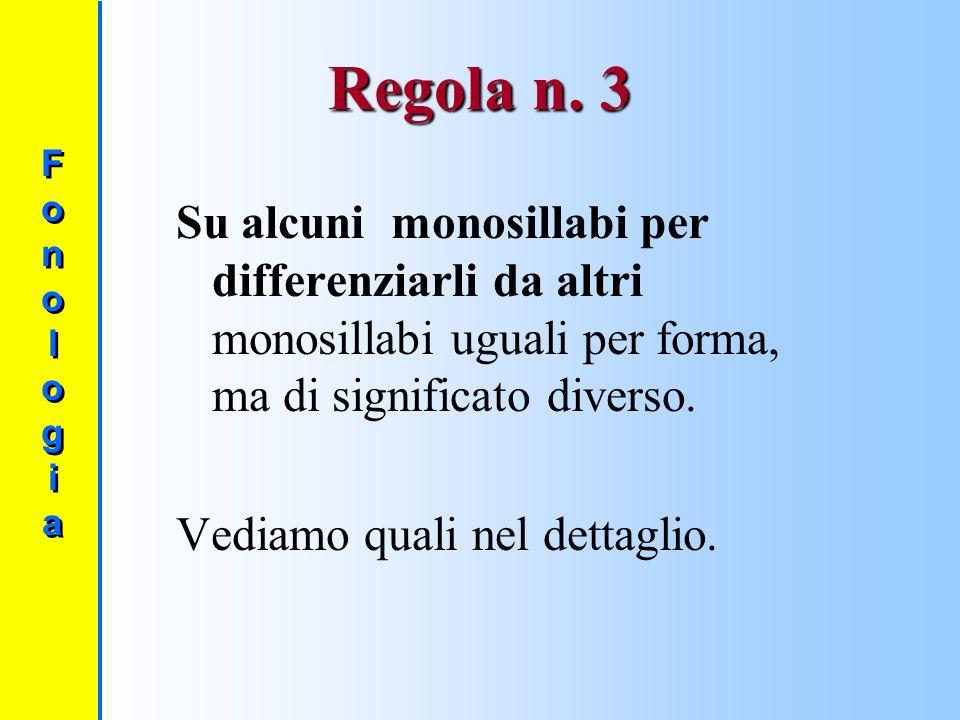 Regola n. 3 Su alcuni monosillabi per differenziarli da altri monosillabi uguali per forma, ma di significato diverso.