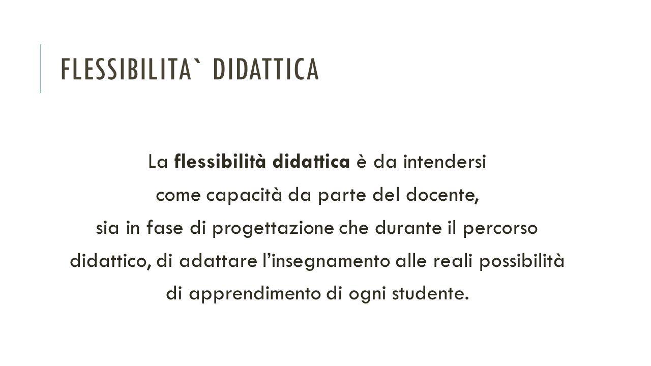 FLESSIBILITA` DIDATTICA