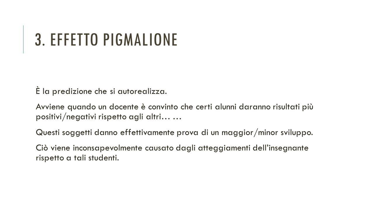 3. Effetto Pigmalione È la predizione che si autorealizza.