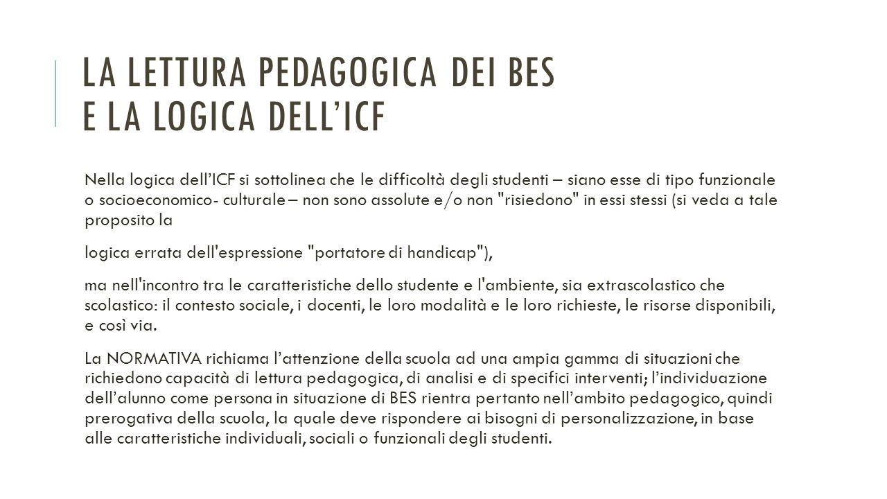 La lettura pedagogica dei BES e la logica dell'ICF