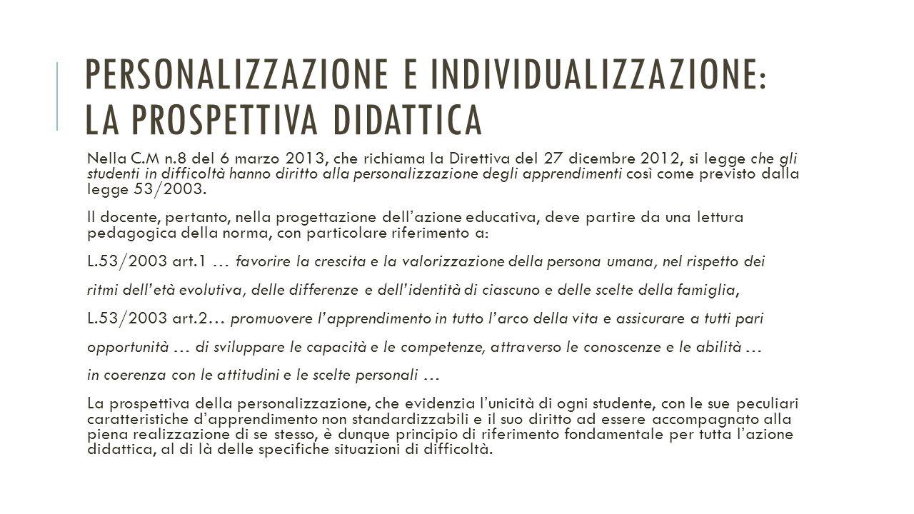 Personalizzazione e individualizzazione: la prospettiva didattica
