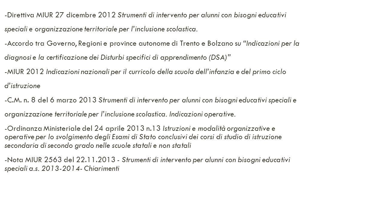 -Direttiva MIUR 27 dicembre 2012 Strumenti di intervento per alunni con bisogni educativi