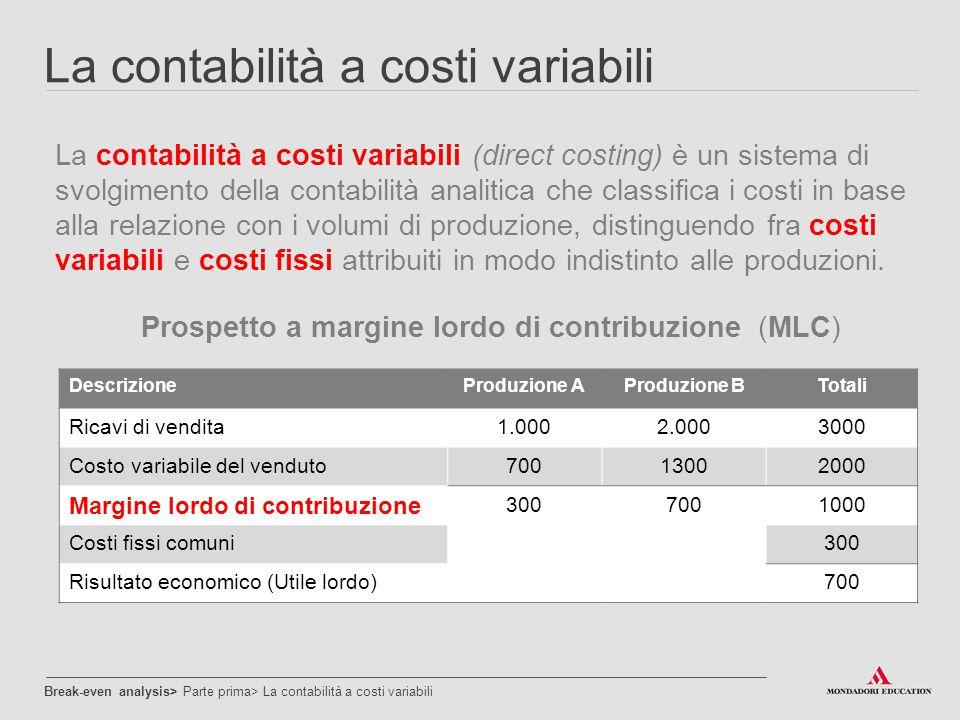 Prospetto a margine lordo di contribuzione (MLC)