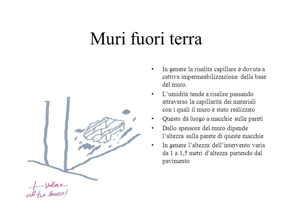 Muri fuori terra In genere la risalita capillare è dovuta a cattiva impermeabilizzazione della base del muro.
