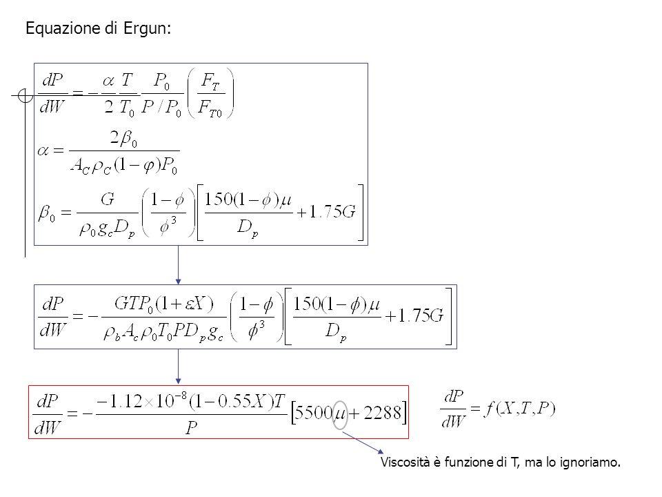 Equazione di Ergun: Viscosità è funzione di T, ma lo ignoriamo.