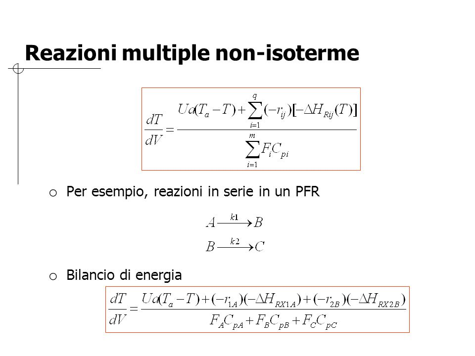 Reazioni multiple non-isoterme