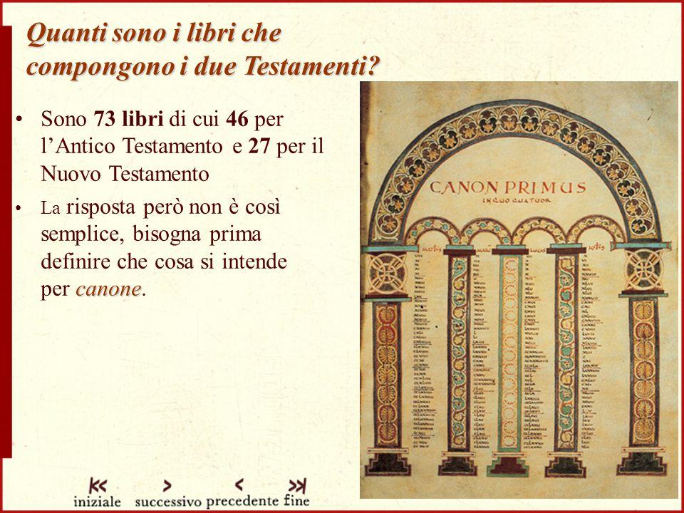 Quanti sono i libri che compongono i due Testamenti