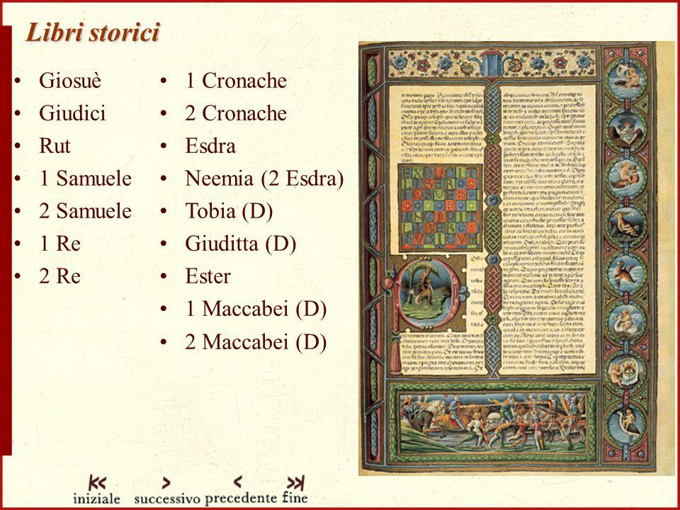 Libri storici Giosuè Giudici Rut 1 Samuele 2 Samuele 1 Re 2 Re