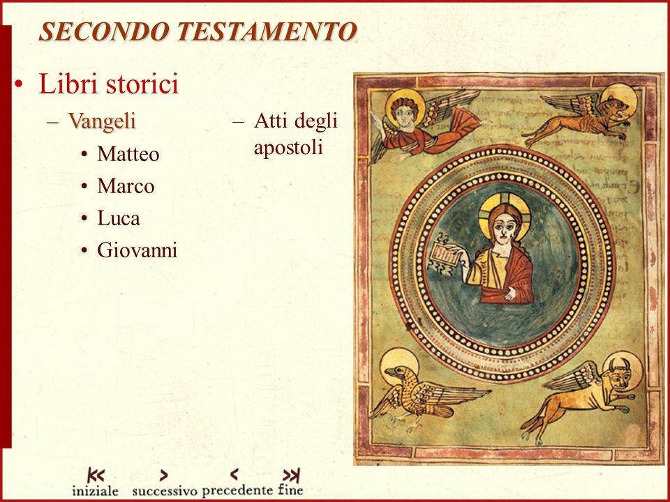 Libri storici SECONDO TESTAMENTO Vangeli Matteo Atti degli apostoli