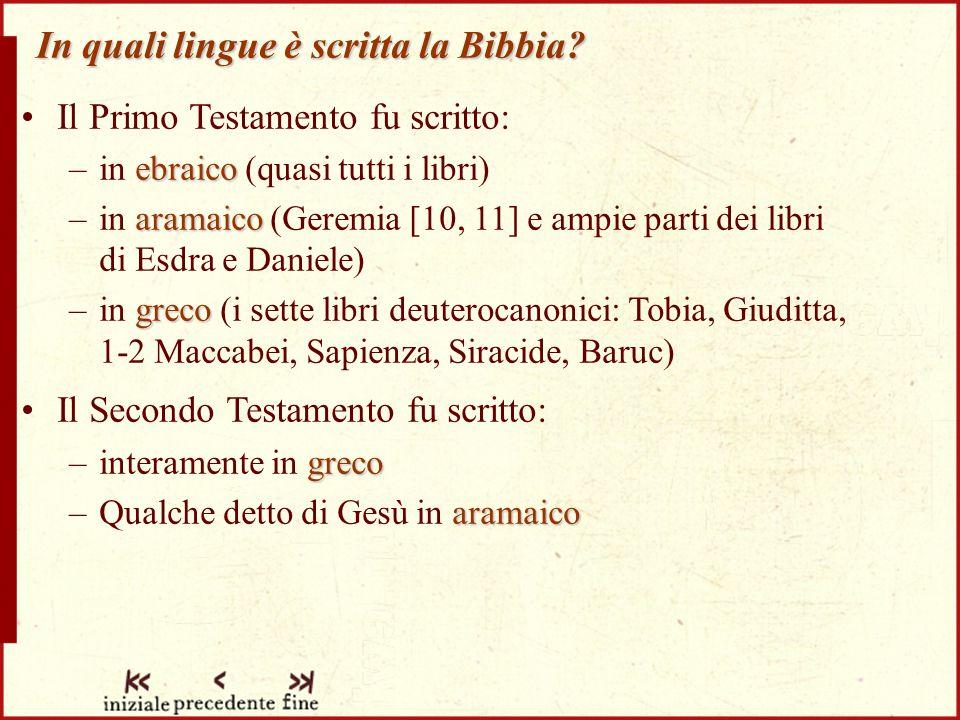 In quali lingue è scritta la Bibbia