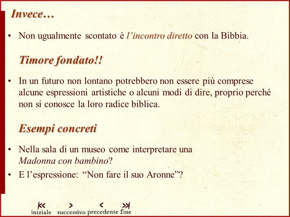 Invece… Non ugualmente scontato è l'incontro diretto con la Bibbia. Timore fondato!!