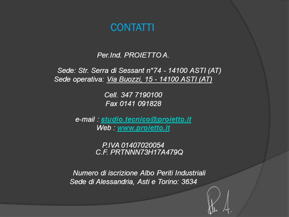 CONTATTI Per.Ind. PROIETTO A.
