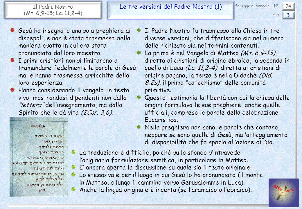 Le tre versioni del Padre Nostro (1)
