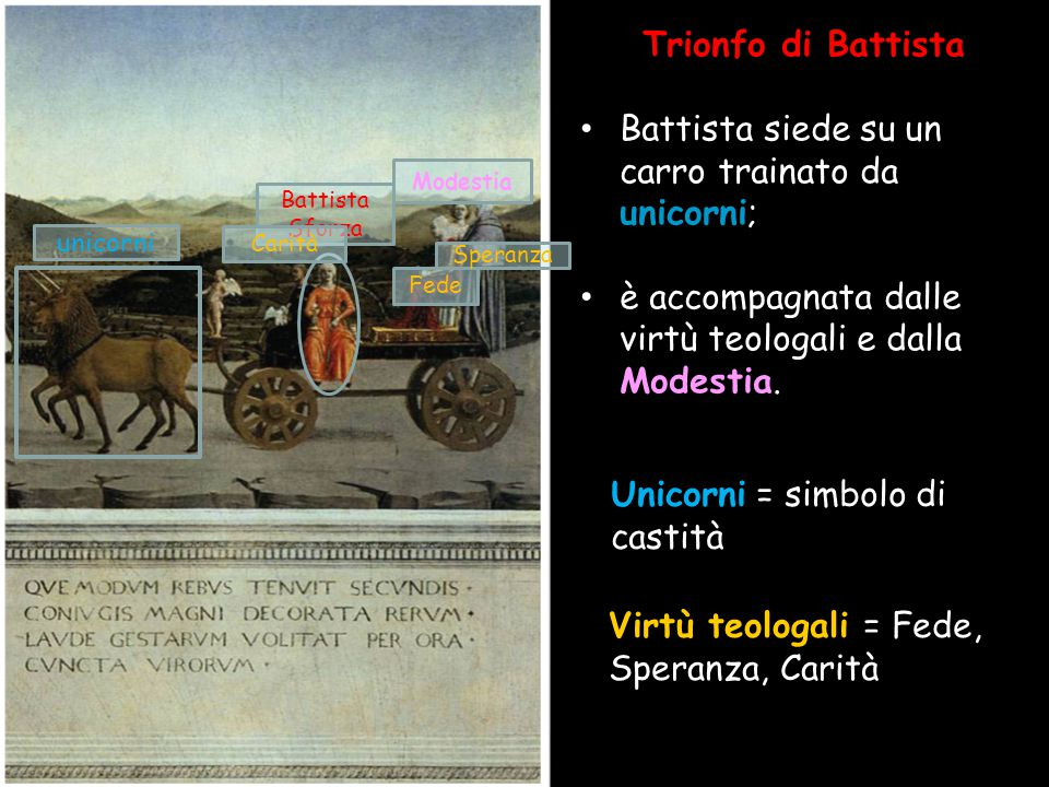 Battista siede su un carro trainato da unicorni;