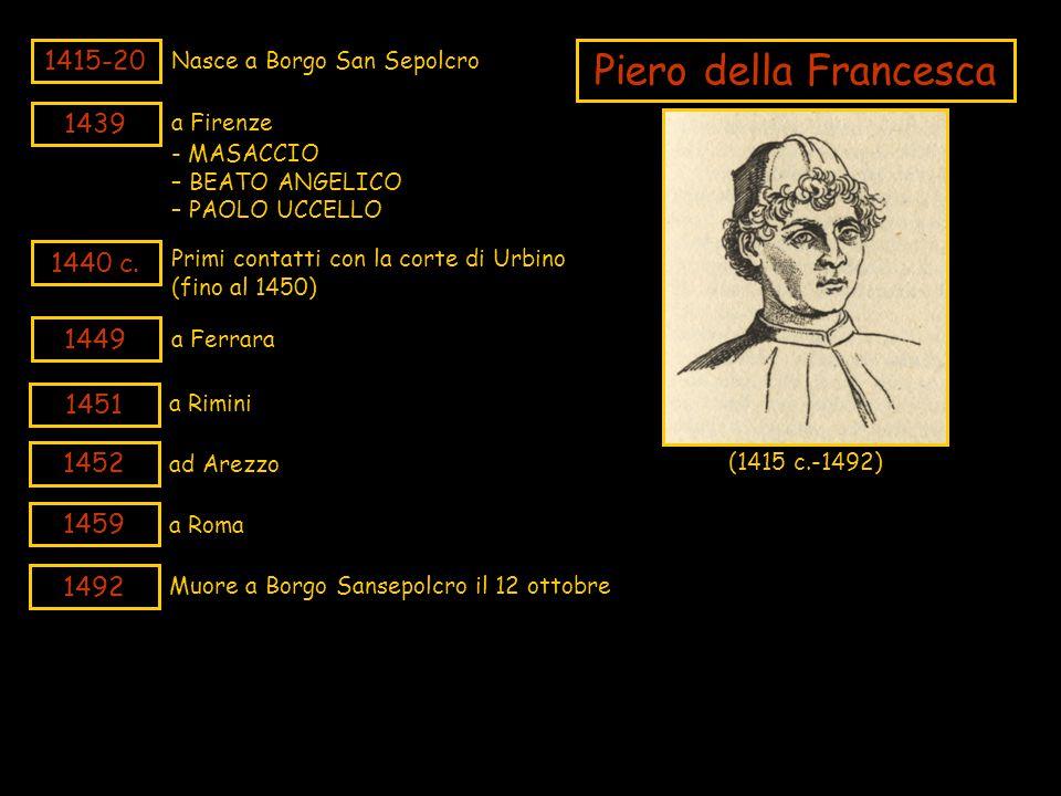 Piero della Francesca 1415-20 1439 1440 c. 1449 1451 1452 1459 1492