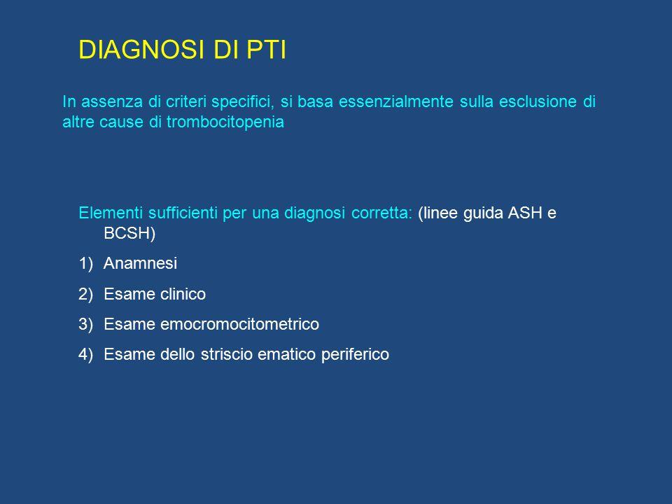 DIAGNOSI DI PTI In assenza di criteri specifici, si basa essenzialmente sulla esclusione di altre cause di trombocitopenia.