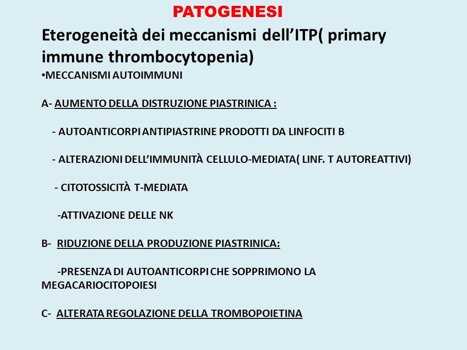 Eterogeneità dei meccanismi dell'ITP( primary immune thrombocytopenia)