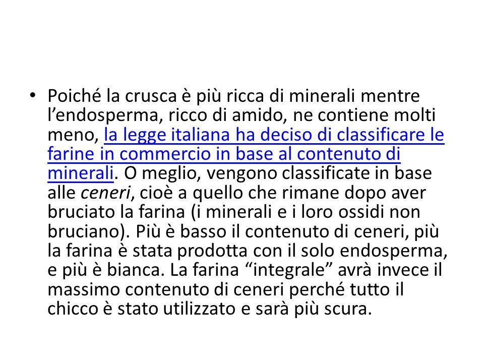 Poiché la crusca è più ricca di minerali mentre l'endosperma, ricco di amido, ne contiene molti meno, la legge italiana ha deciso di classificare le farine in commercio in base al contenuto di minerali.