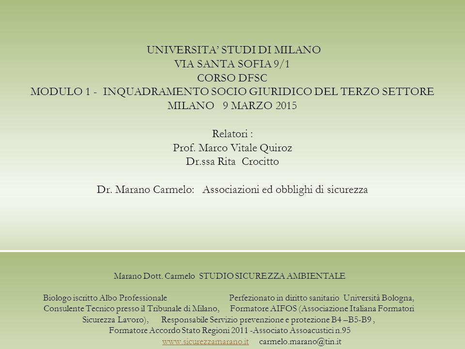 UNIVERSITA' STUDI DI MILANO VIA SANTA SOFIA 9/1 CORSO DFSC