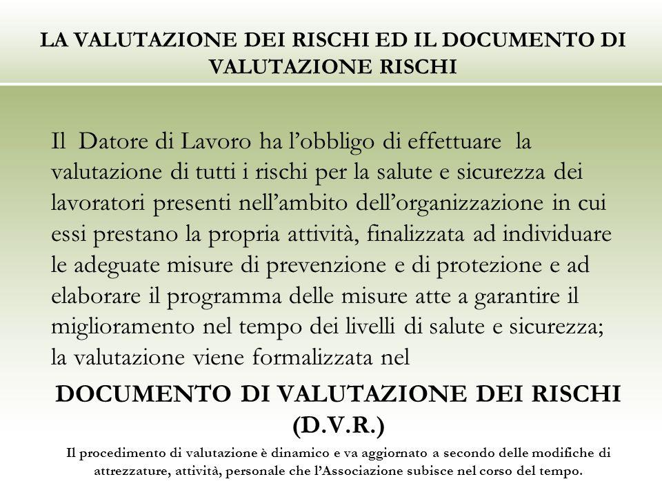 LA VALUTAZIONE DEI RISCHI ED IL DOCUMENTO DI VALUTAZIONE RISCHI