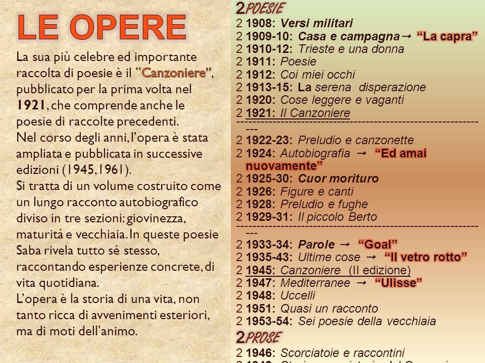 POESIE 1908: Versi militari. 1909-10: Casa e campagna La capra 1910-12: Trieste e una donna.