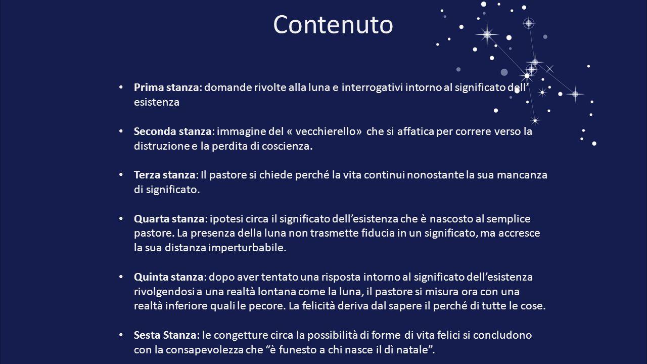 Contenuto Prima stanza: domande rivolte alla luna e interrogativi intorno al significato dell' esistenza.
