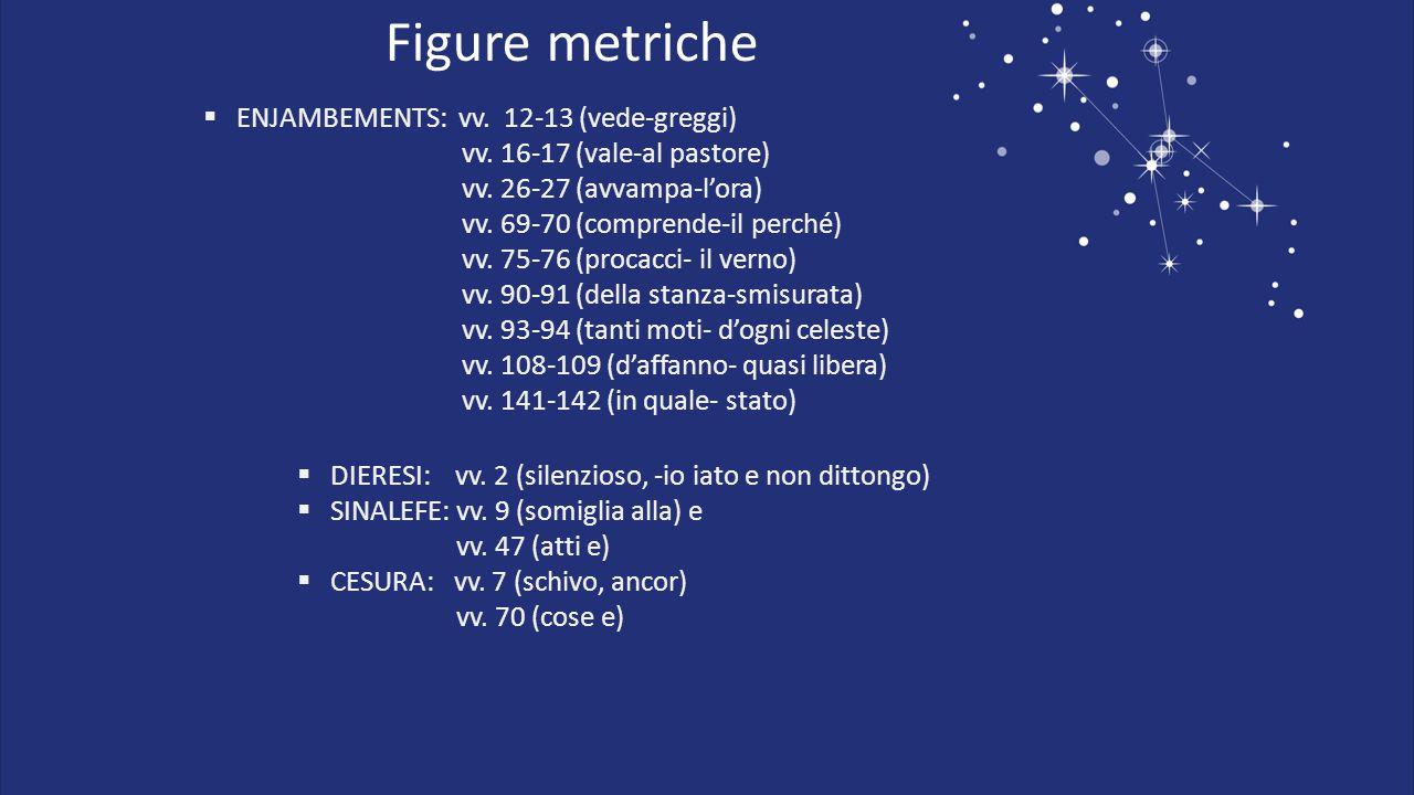 Figure metriche ENJAMBEMENTS: vv. 12-13 (vede-greggi)