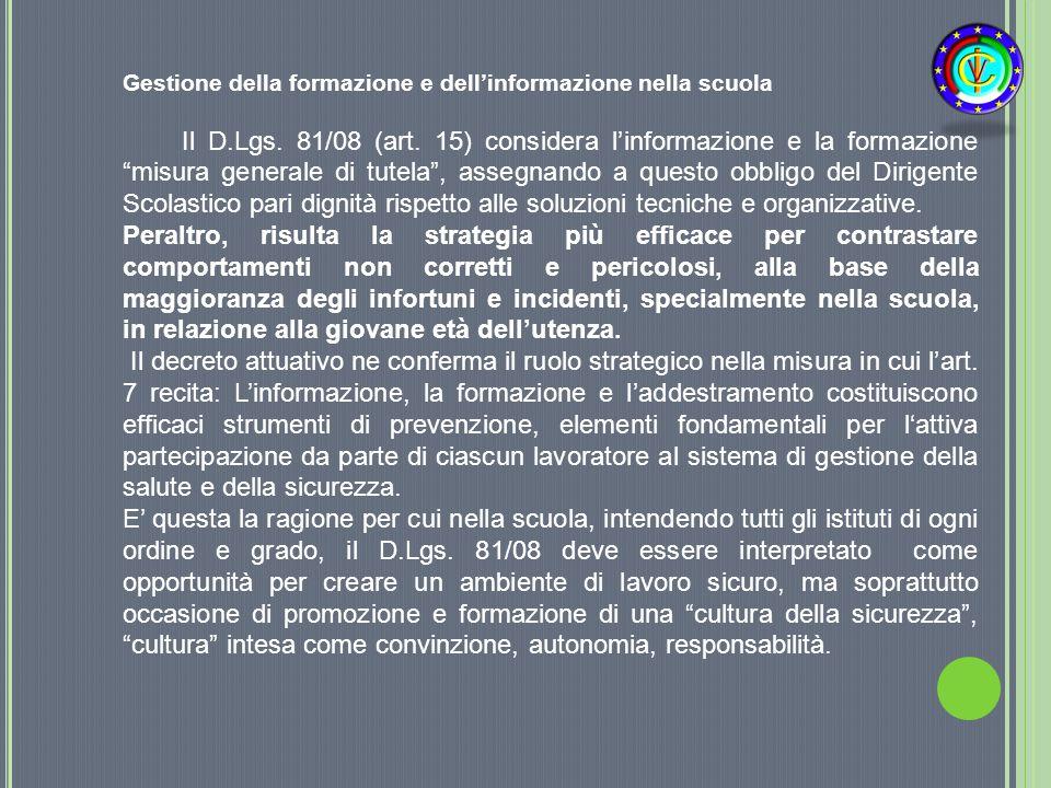 Gestione della formazione e dell'informazione nella scuola
