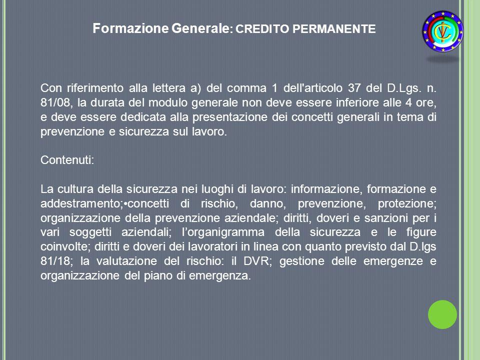 Formazione Generale: CREDITO PERMANENTE