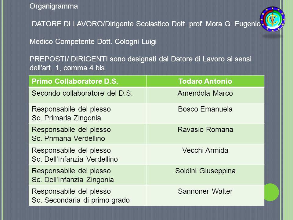Organigramma DATORE DI LAVORO/Dirigente Scolastico Dott. prof. Mora G. Eugenio. Medico Competente Dott. Cologni Luigi.