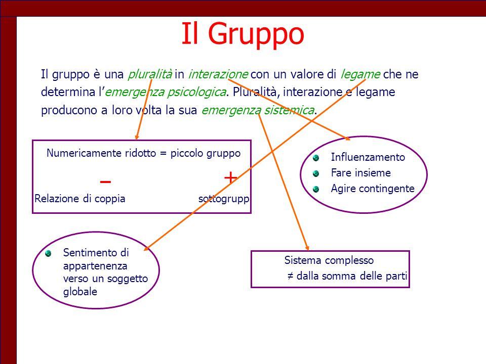 Il Gruppo Il gruppo è una pluralità in interazione con un valore di legame che ne.