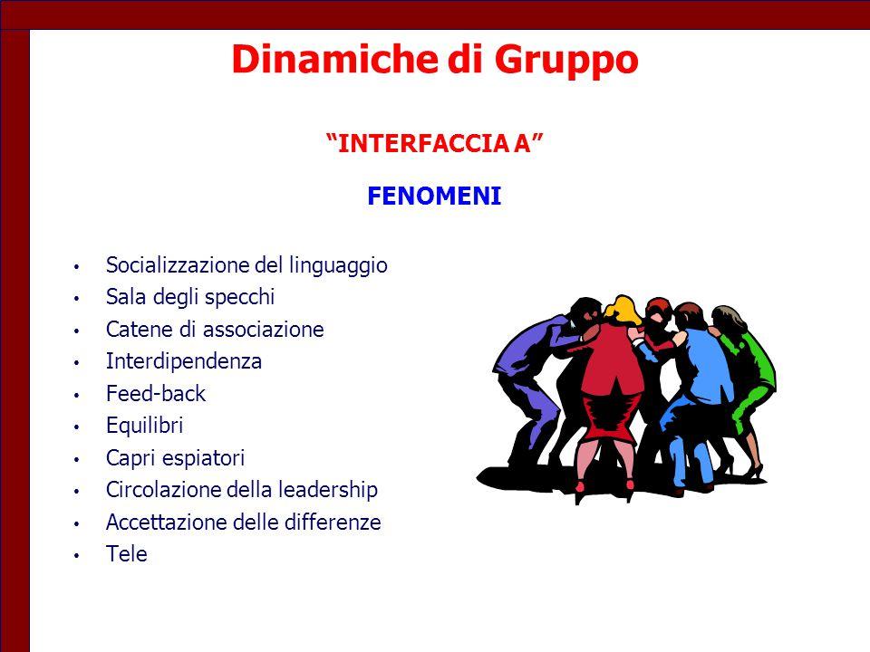 Dinamiche di Gruppo INTERFACCIA A FENOMENI