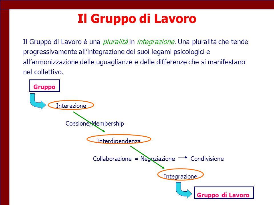 Il Gruppo di Lavoro Il Gruppo di Lavoro è una pluralità in integrazione. Una pluralità che tende.