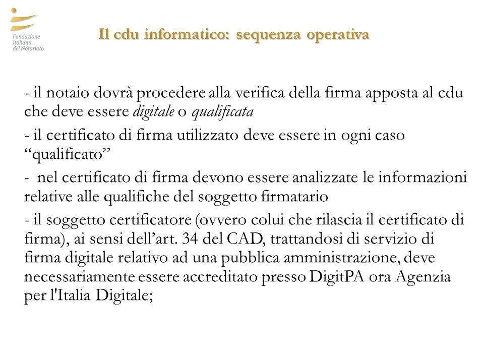 Il cdu informatico: sequenza operativa