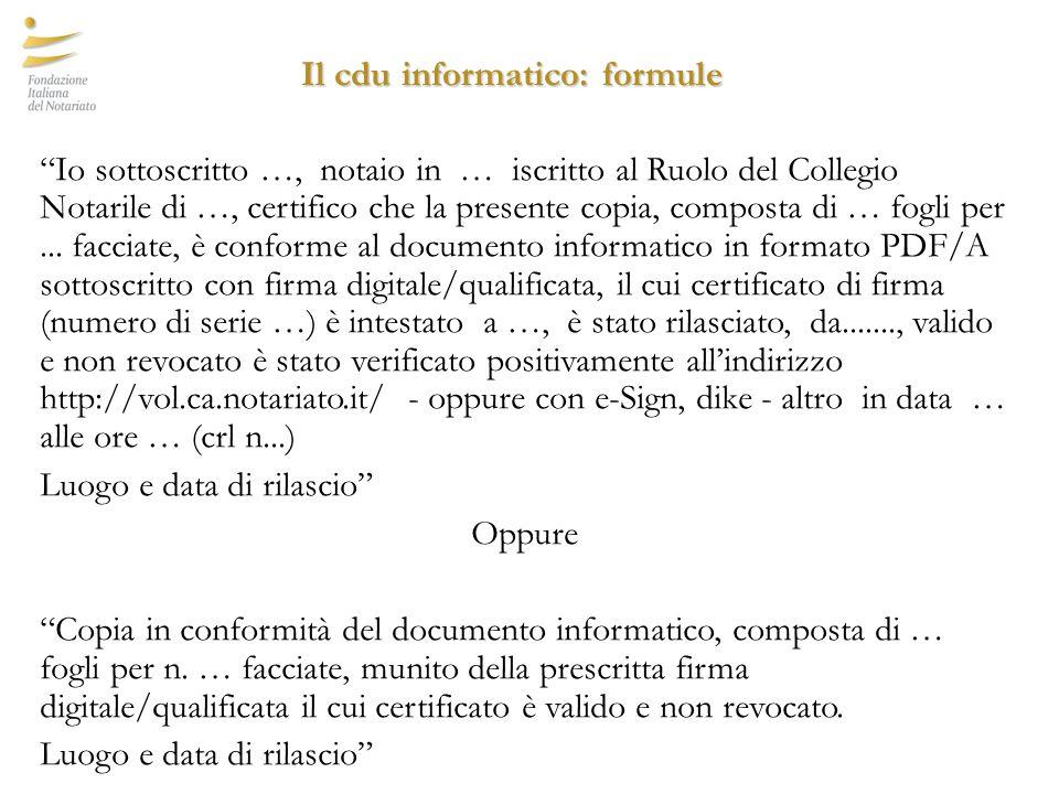Il cdu informatico: formule