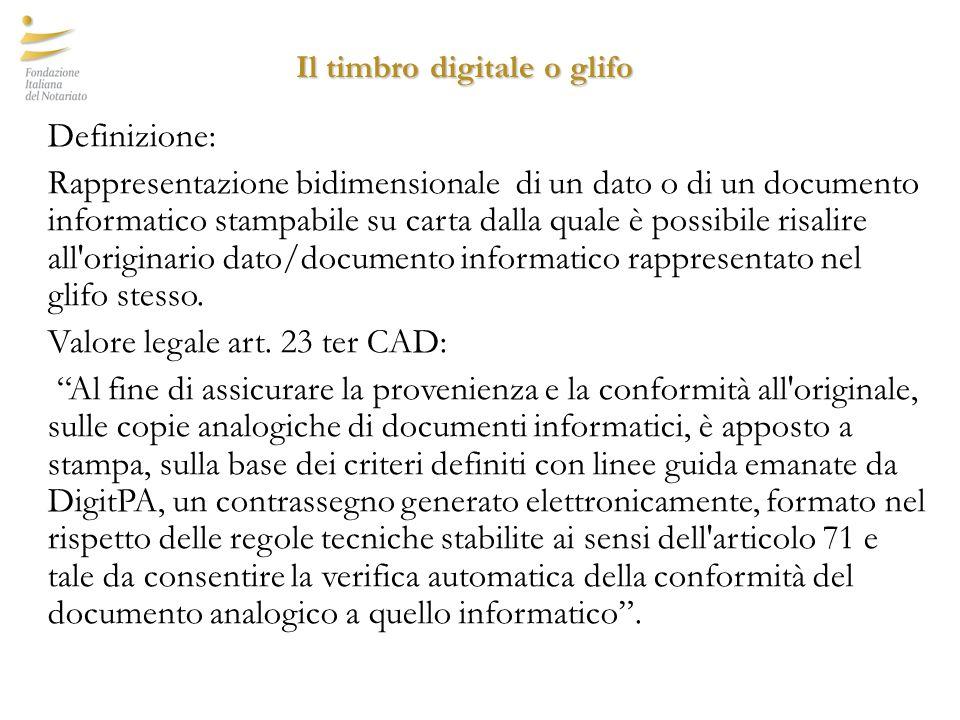 Il timbro digitale o glifo