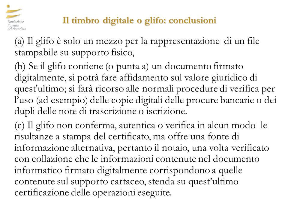 Il timbro digitale o glifo: conclusioni